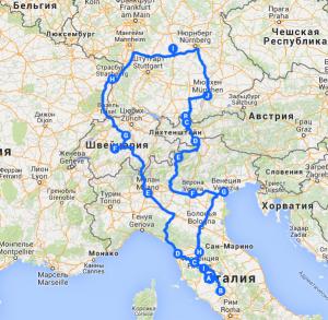 Европа-2014. Обзор маршрута. Германия-Австрия-Италия-Швейцария-Франция.
