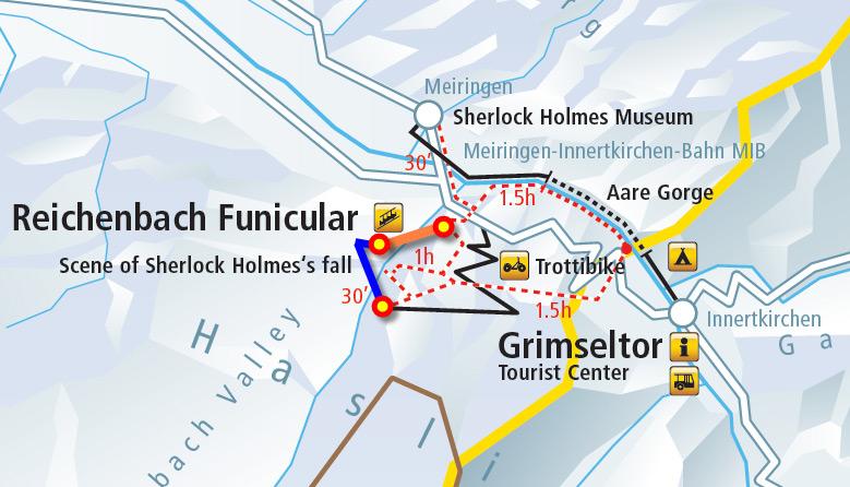 Маршрут фуникулера и пешеходного трека на Рейхенбахском водопаде