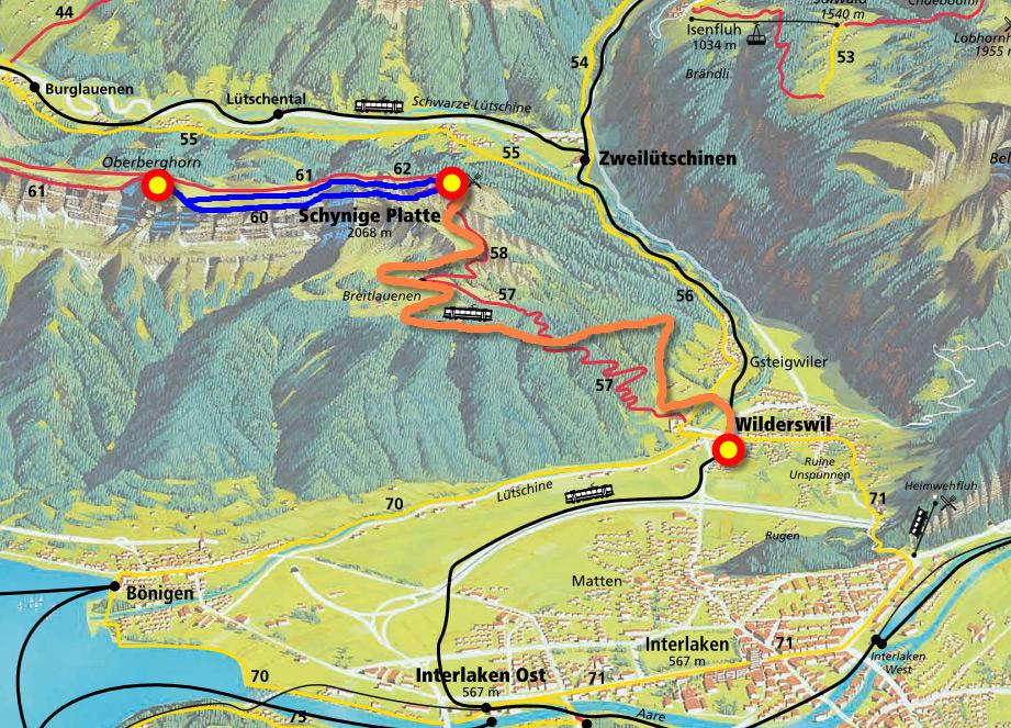 Маршрут поезда Schynige Platte и пешеходного трека на гору Обербергхорн