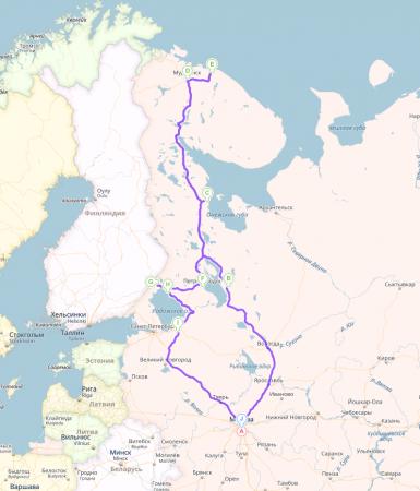 Карта автопутешествия Северный Марш или Кола-2015