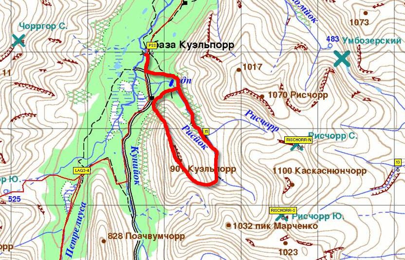Северный Марш или Кола-2015. Маршрут восхождения на гору Куэльпорр.