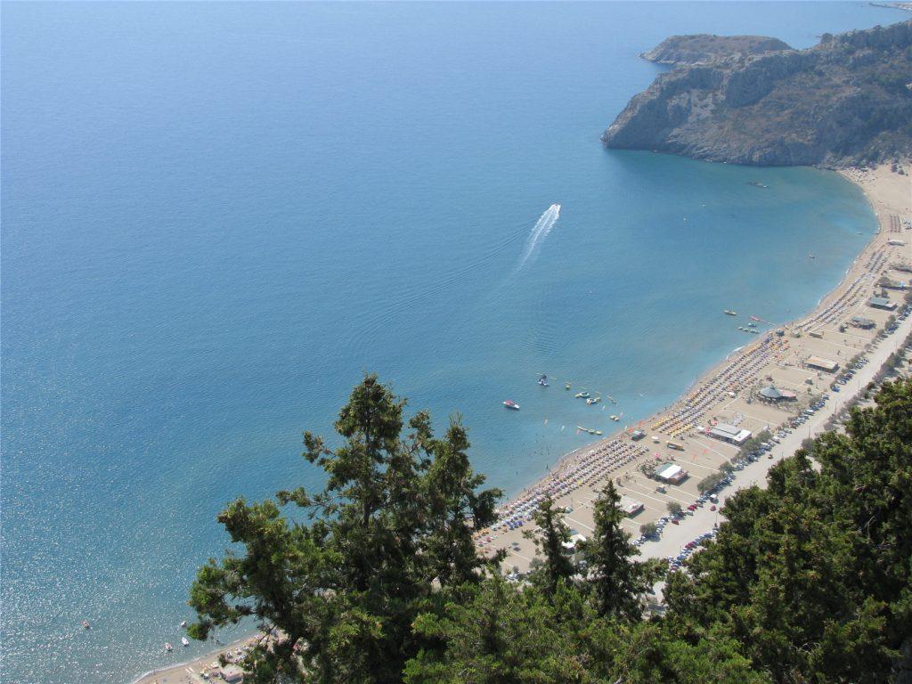 Пляж Цамбика. Вид из монастыря Мони Цамибка. Родос.