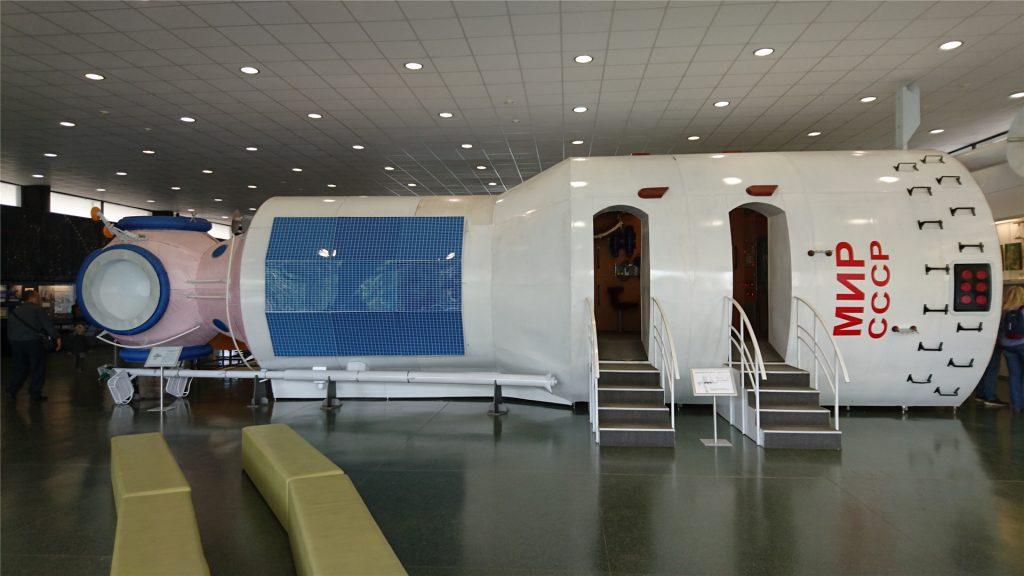 Макет базового блока орбитальной станции Мир в музее космонавтики в Калуге