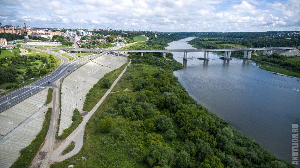 Калуга с воздуха. Гагаринский мост.