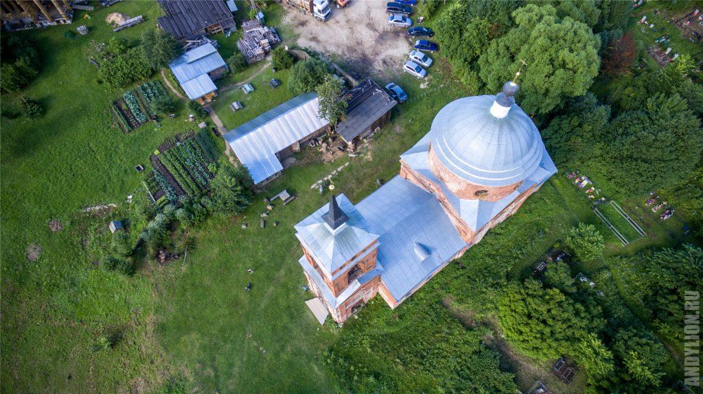 Никола-Ленивец с воздуха. Троицкая церковь.
