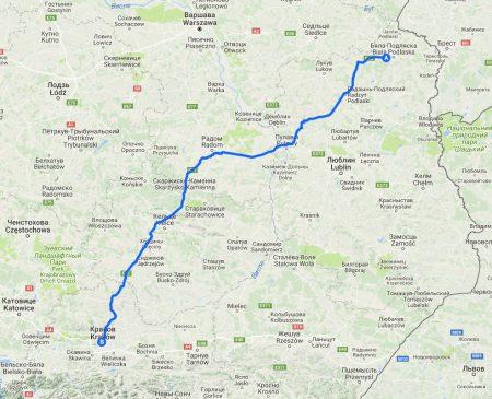 На машине в Европу. Бяла-Подляска - Краков. Маршрут на карте.