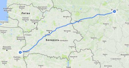 Маршрут Москва-Брест-Бяла-Подляска. Белоруссия-Польша.