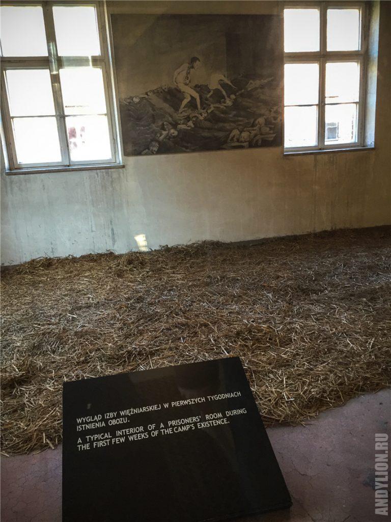 Спальные места узников Освенцима в первые недели после создания