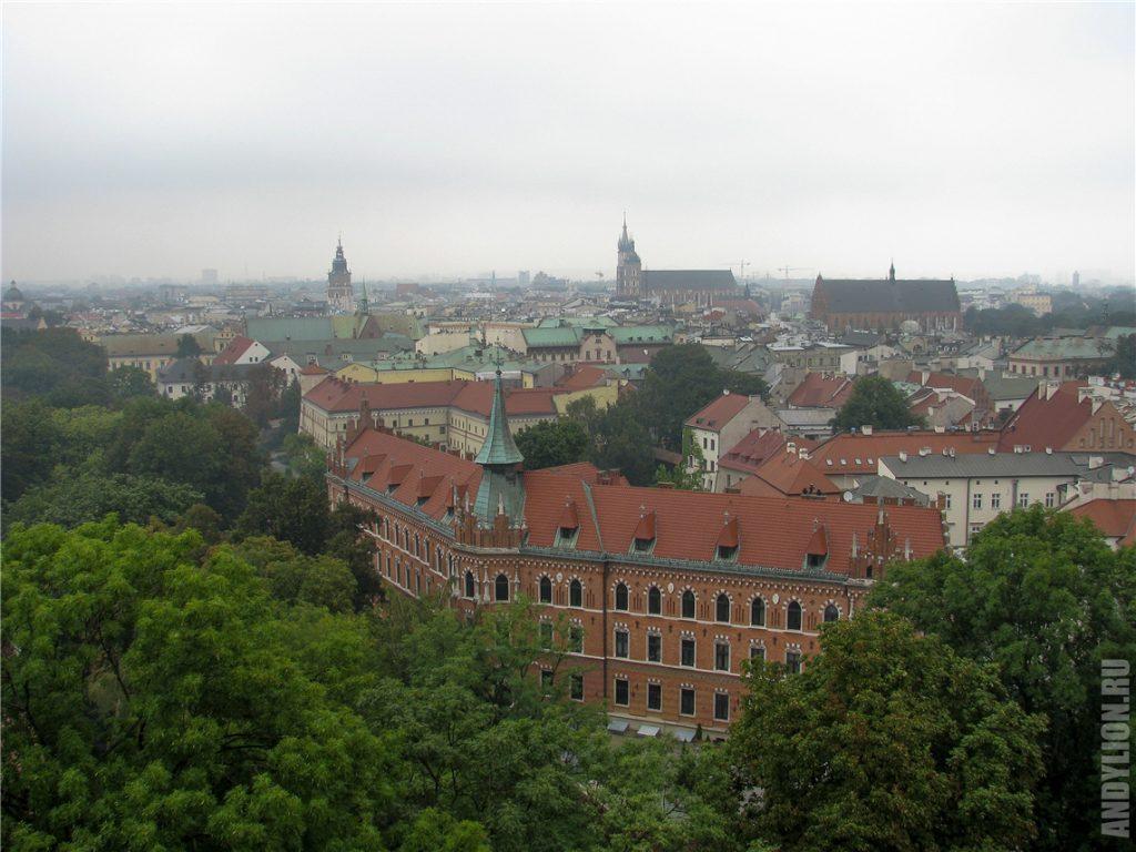 Вид на центр Кракова из Вавельского замка