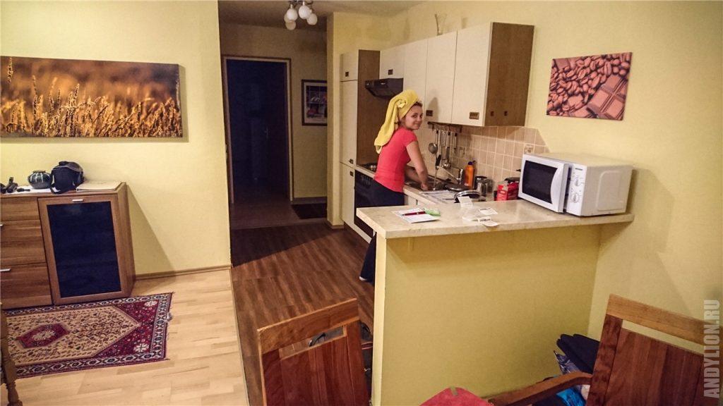 Апартаменты Waldhaus Igls. Кухня.