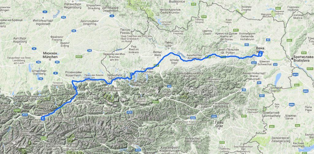 На машине в Европу. Вена-Инсбрук. Маршрут на карте.