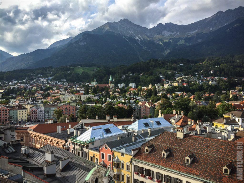 Вид на Инсбрук с городской башни Stadtturm