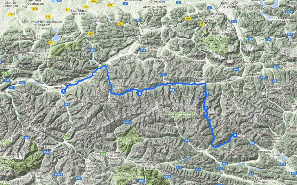 На машине в Европу. Инсбрук-Кримль-Гросглокнер-Флаттах. Маршрут на карте.