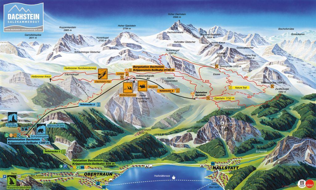 Дахштайн-Зальцаммергут. Туристическая карта.