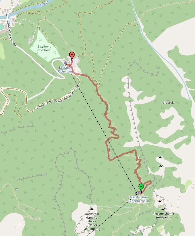 Топографическая карта с треком нашего спуска