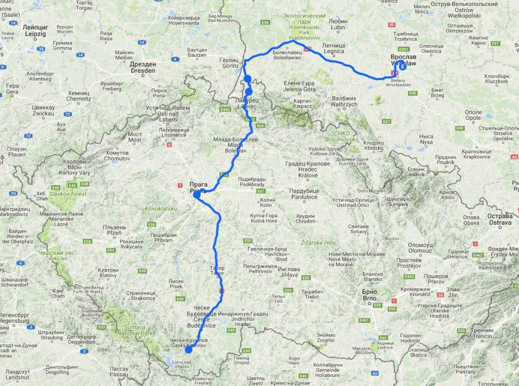 На машине в Европу. Чески-Крумлов-Прага-Вроцлав. Маршрут на карте.