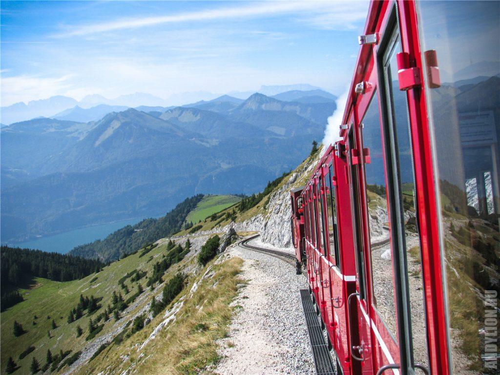 Подъем на гору Шафберг по железной дороге
