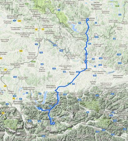 На машине в Европу. Обертраун-Санкт-Вольфганг-Чески-Крумлов. Маршрут на карте.