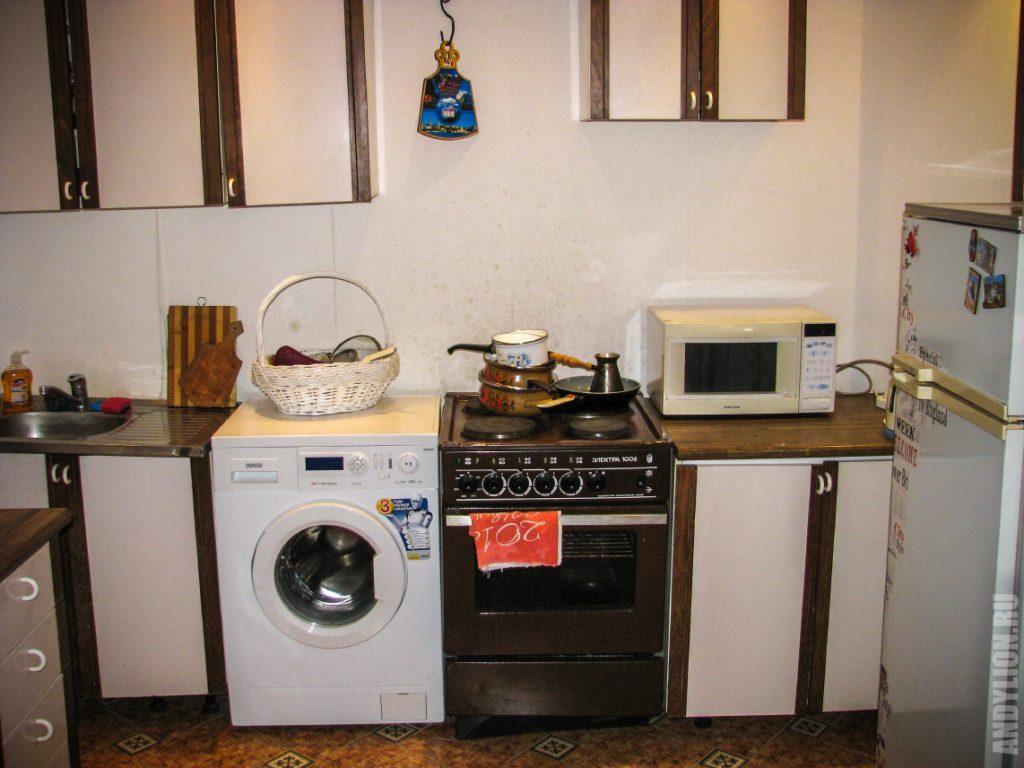 Кухня в апартаментах Стрекоза