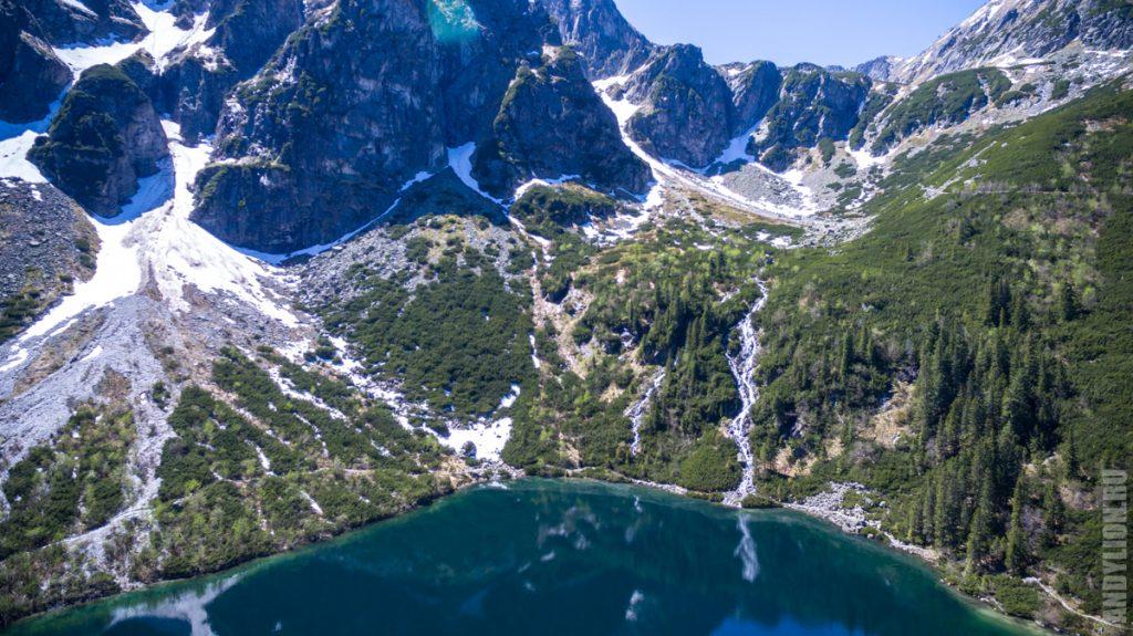 Горы и водопад на Морском Око