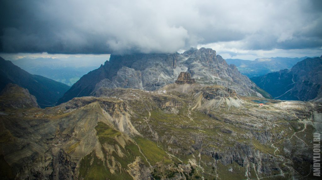 Tre Cime di Lavaredo. View from drone.