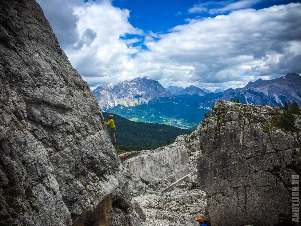 Rock climbing in Cinque Torri