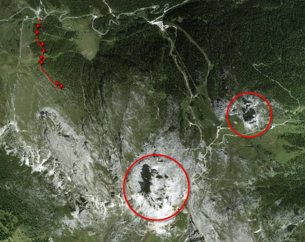 Трек к озеру Лимидес. Снимок со спутника.
