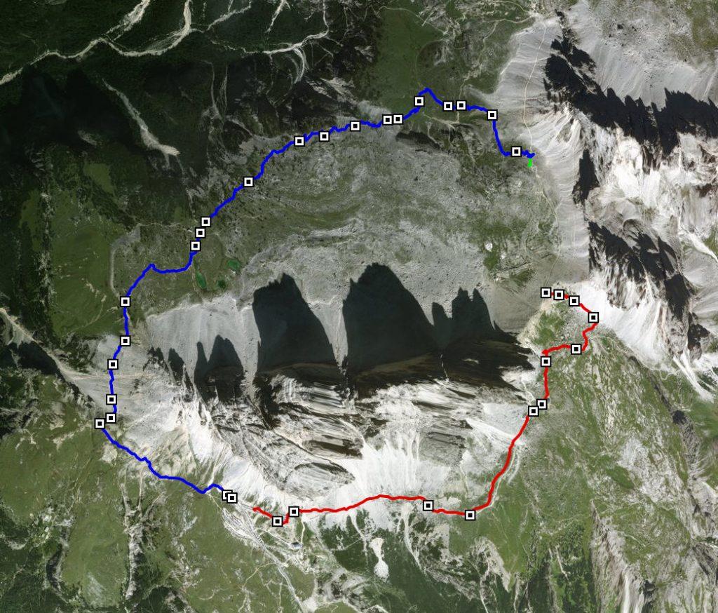 Tre Cime di Lavaredo. Hiking route 8km.