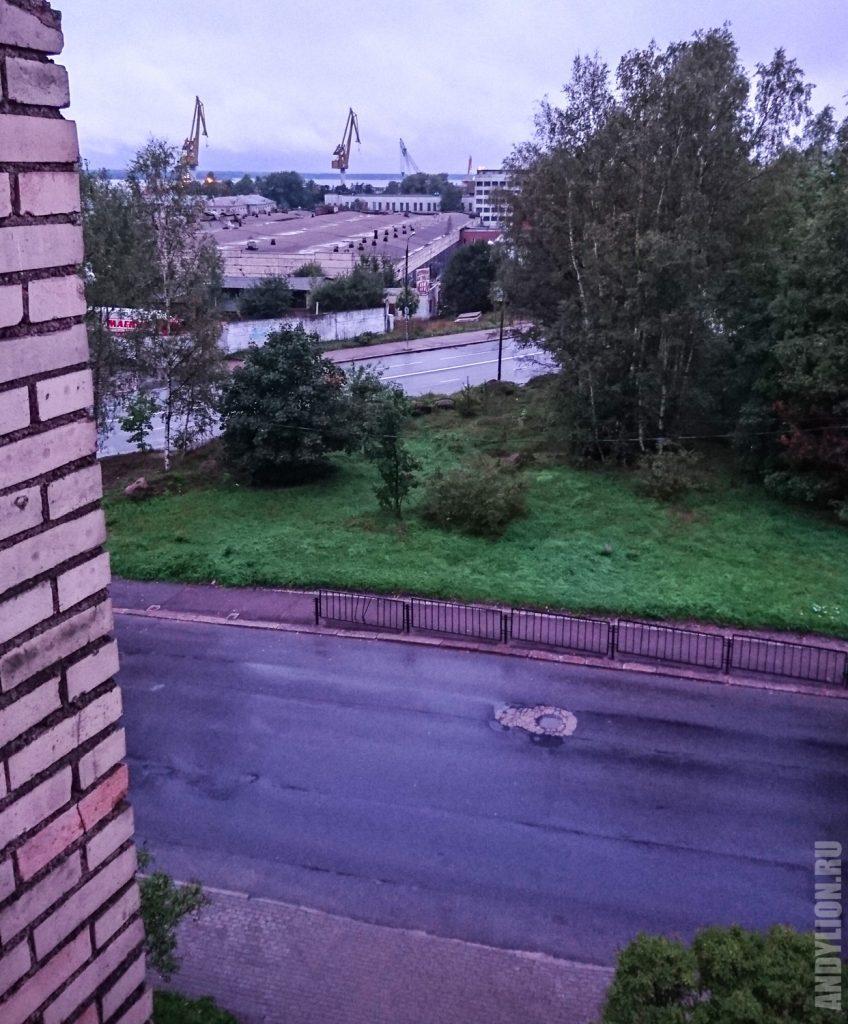 Вид из окна гостиницы Шельф в Выборге