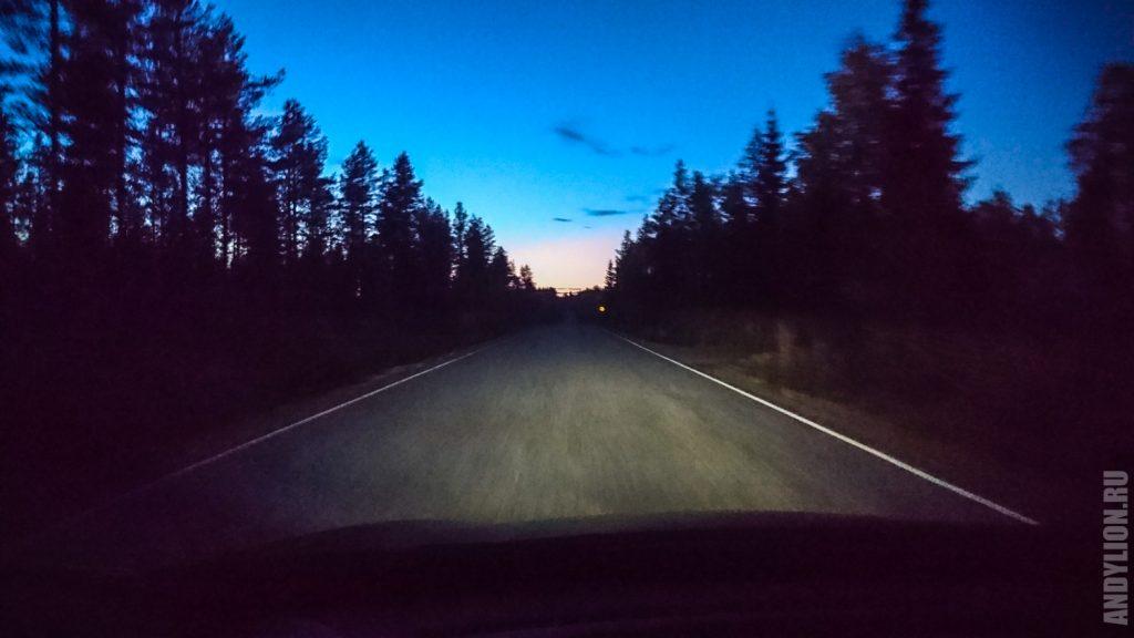 Финская дорога в сумерках