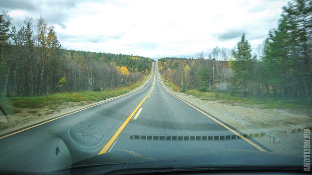 Дорога по северной Лапландии в сентябре