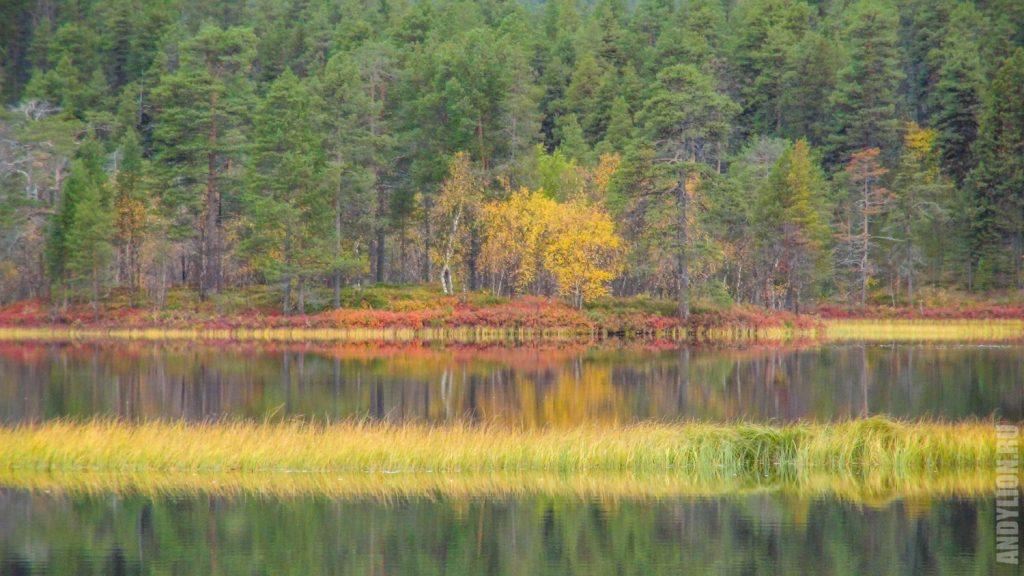 Озеро Юураккоярви в парке Лемменйоки