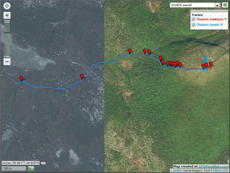 Карта трека на сопку Otsamo со спутника