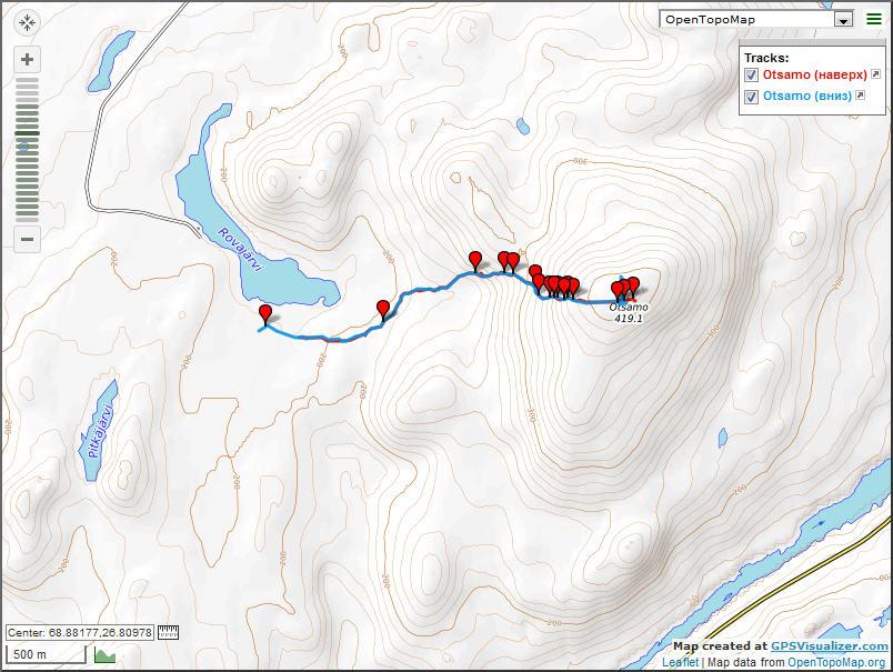 Карта трека на сопку Otsamo