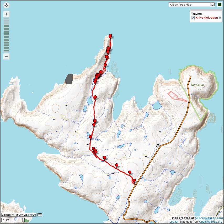 Трек на мыс Кнившелльодден. Топографическая карта.