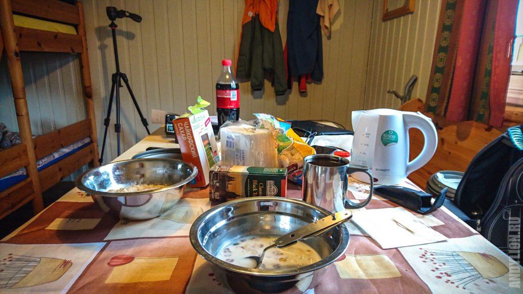 Завтрак в Nordkapp Camping
