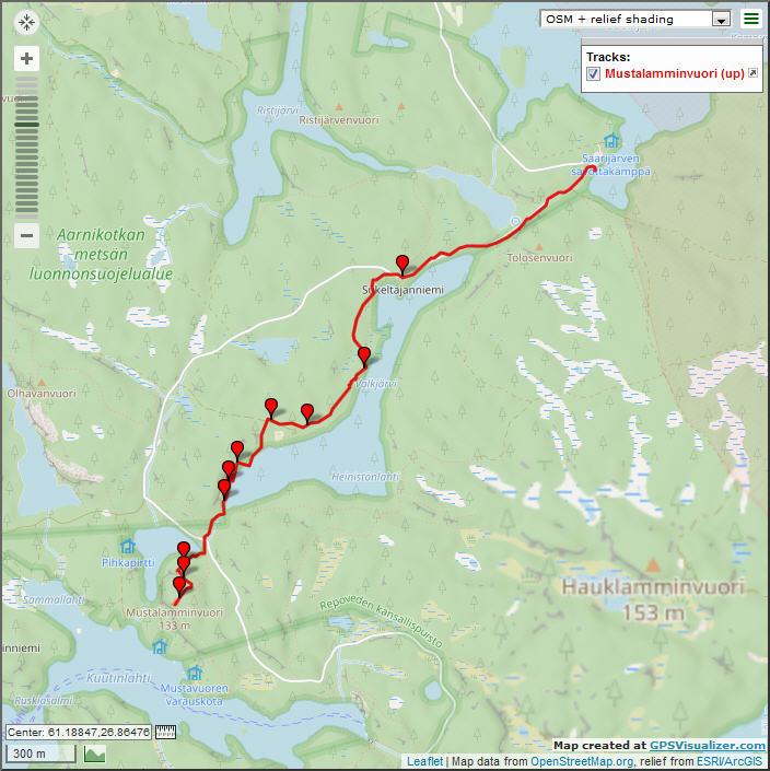 Трек от Saarijärvi до вышки Mustalamminvuori
