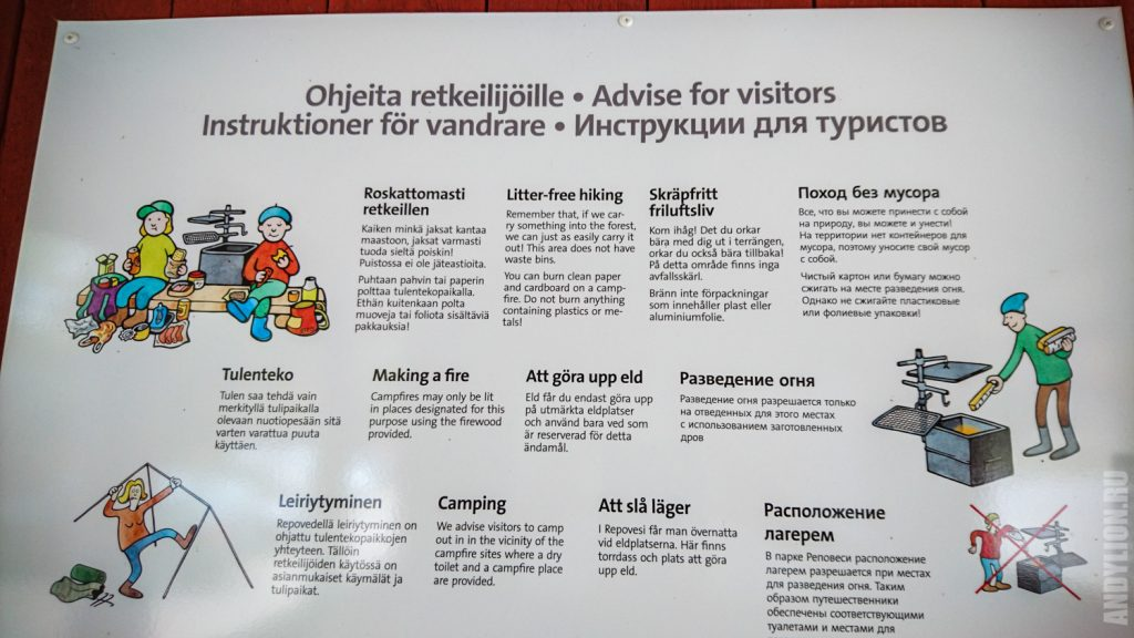 Инструкции для туристов в парке Реповеси