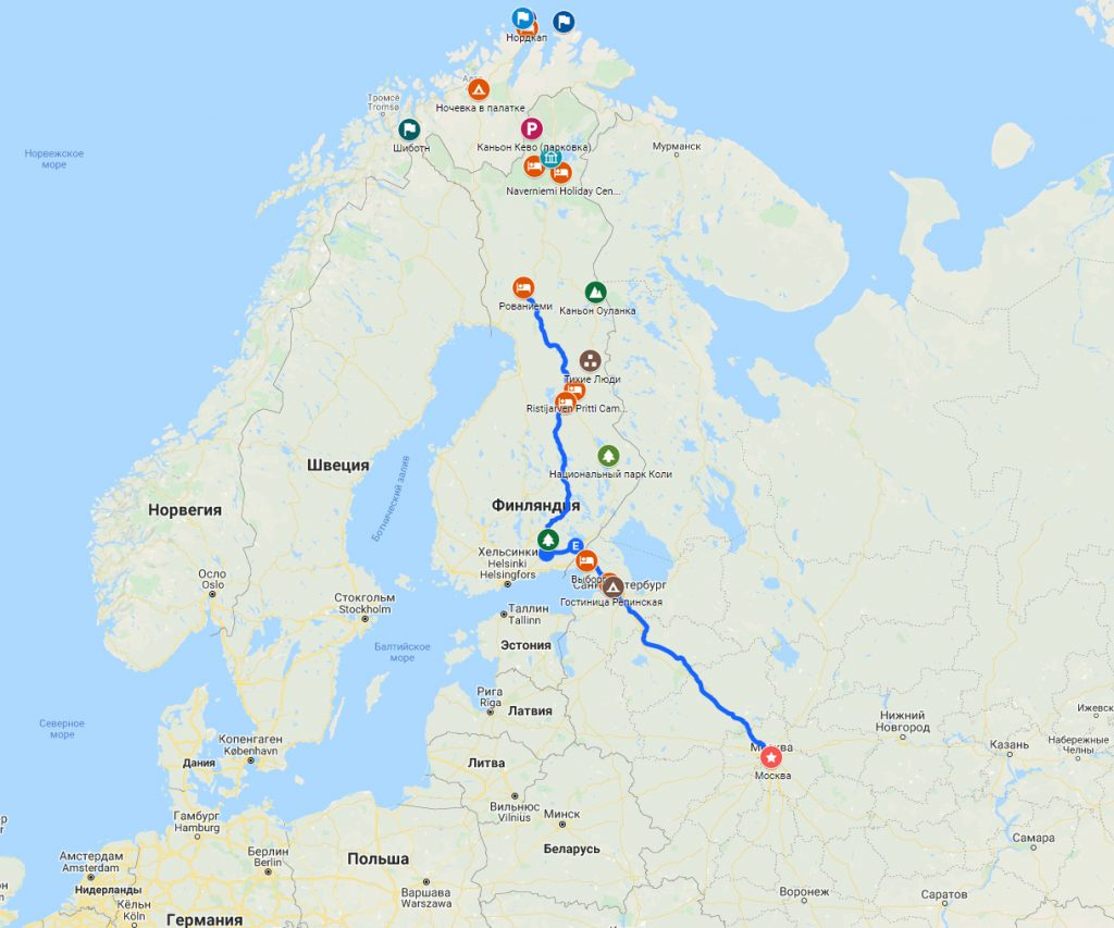 Весь маршрут Рованиеми - Санкт-Петербург - Москва
